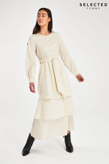 Selected Femme Cream Mini Spot Print Midi Dress