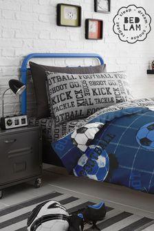 Bedlam Blue Football Duvet Cover and Pillowcase Set
