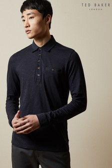 Ted Baker Hatchoc Long Sleeve Slub Jersey Poloshirt