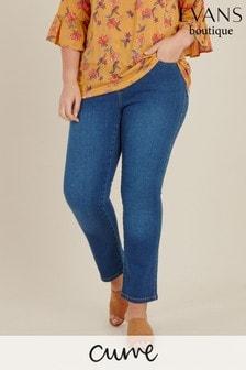 Evans Curve Regular Mid Wash Straight Jeans