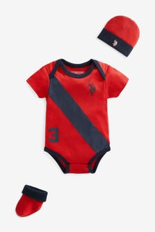 U.S. Polo Assn. Players Bodysuit, Bootie & Hat Infant Set