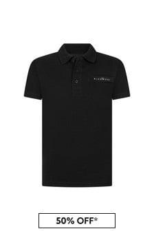 John Richmond Boys Black Cotton Poloshirt