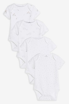 4 Pack GOTS Organic Delicate Multi Print Short Sleeved Bodysuits (0-3yrs)