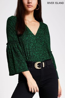 River Island Green Long Sleeve Animal Flute Sleeve Smock Top