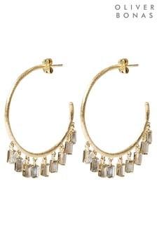 Oliver Bonas Jazzie Large Hoop & Stone Drop Earrings