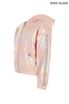 River Island Rose Gold Metallic Windbreaker Jacket