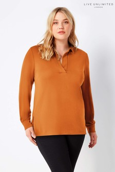 Live Unlimited Mustard French Crepe Collared Blouse