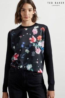 Ted Baker Befanyy Sandalwood Printed Woven Front Sweater