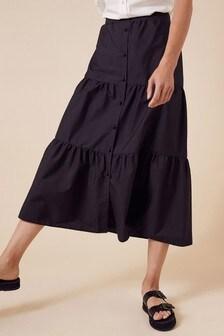 Monsoon Black Patty Poplin Tiered Skirt