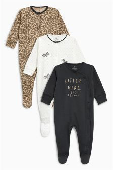 Slogan Leopard Print Sleepsuits Three Pack (0mths-2yrs)
