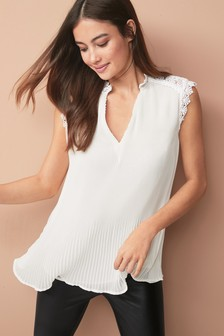 Lace Insert Pleated Top