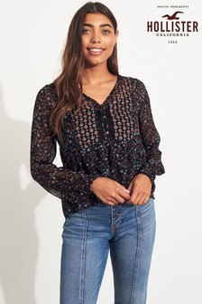 Hollister Black Printed Blouse