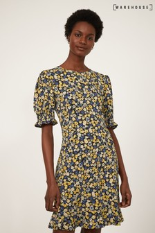 Warehouse Yellow Floral Shirred Cuff Dress