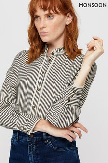 Monsoon Cream Parlee Stripe High Neck Shirt