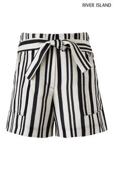 River Island Cream Stripe Pocket Shorts