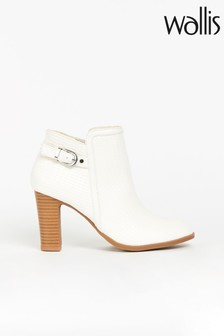 Wallis Alicante White Woven Buckle Boots