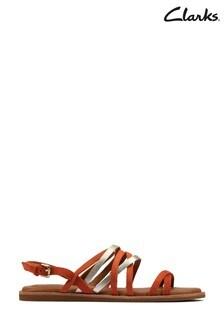 Clarks Bright Orange Karsea Ankle Sandals