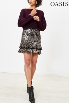Oasis Multi Black Foil Animal Tiered Mini Skirt