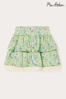Boden Multi Button Through Ruffle Skirt