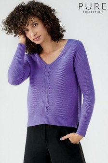 Pure Collection Purple Gassato Pointelle V-Neck Sweater
