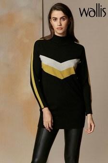 Wallis Black Chevron Stripe Sleeve Tunic