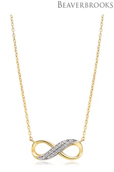 Beaverbrooks 9ct Gold Cubic Zirconia Infinity Necklace