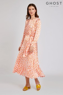 Ghost London Orange Mindy Cheetah Print Satin Dress