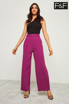 F&F Purple Self Belt Wide Leg Trouser
