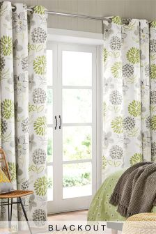 Bold Floral Blackout Lined Eyelet Curtains