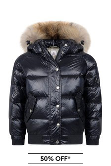 Boys Navy Water Repellent Aviator Fur Coat