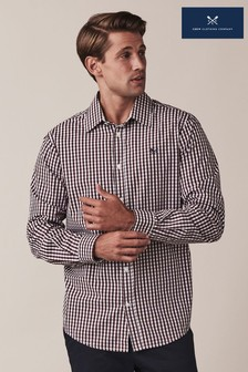 Crew Clothing Red Heather Gingham Classic Fit Shirt