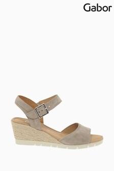 Gabor Cream Nieve Velour Suede Sandals