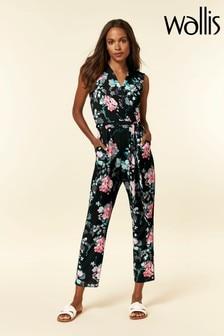 Wallis Petite Black Floral Jumpsuit