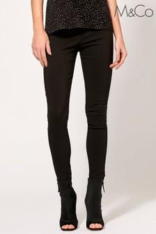 M&Co Black Plain Bengaline Trousers