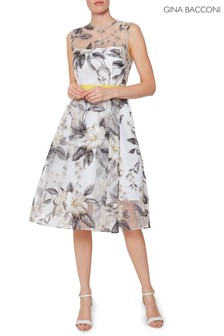 Gina Bacconi Grey Fiora Floral Organza Dress