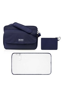 Navy Embroidered Logo Changing Bag