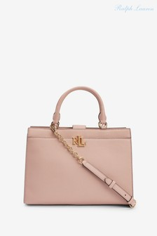 Ralph Lauren Pale Pink Laine Leather Satchel Handbag