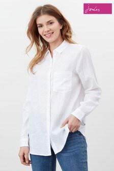 Joules White Lorena Linen Longline Woven Shirt
