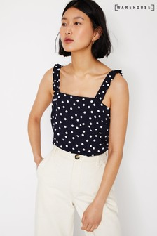 Warehouse Blue Spot Print Frill Cami Top
