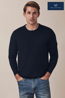 Crew Clothing Company Blue Merino Crew Neck Jumper