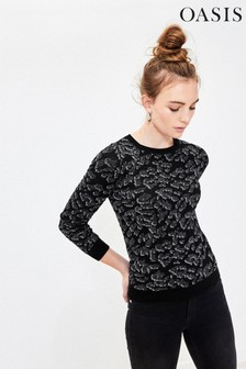 Oasis Multi Black Kiana Animal Jacquard Jumper