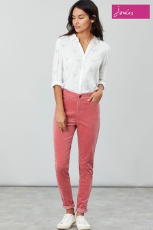 Joules Pink Monroe High Rise Stretch Cord Trousers