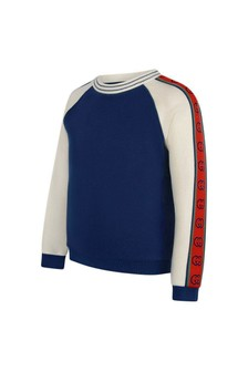 Boys Blue Cotton Logo Trim Sweater