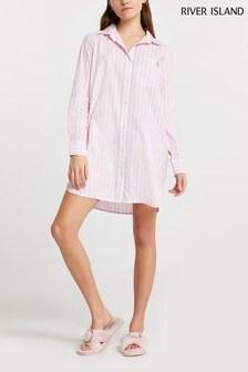 River Island Pink Light Oversized Bed Shirt Dress