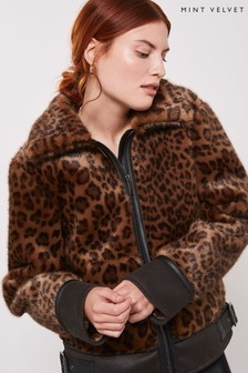 Mint Velvet Leopard Faux Fur Aviator Coat