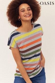 Oasis Multi Grey Rainbow Stripe T-Shirt