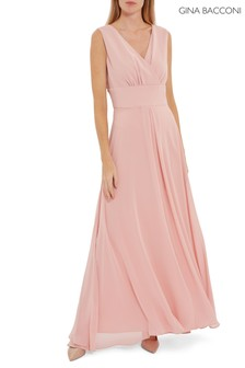 Gina Bacconi Pink Christiana Chiffon Maxi Dress