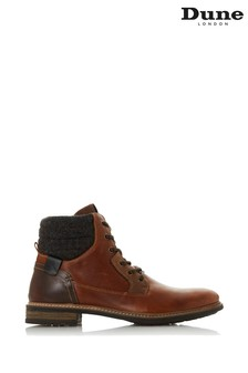 Dune London Cowley Tan Leather Fabric Collar Lace Up Boots
