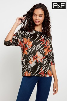F&F Tan Brushed Printed Top