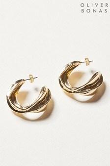 Oliver Bonas Helm Curved Organic Loop Hoop Earrings